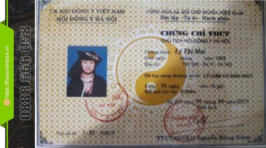 Chứng chỉ YHCT Lương Y Lý Thị Mai