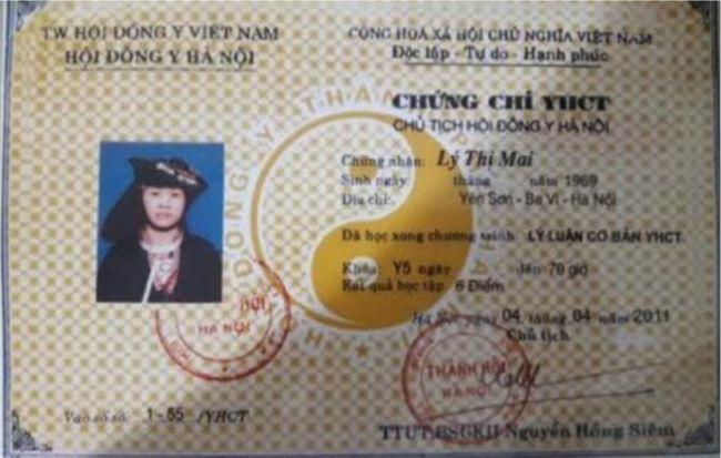 Chứng chỉ YHCT - Lương Y Lý Thị Mai